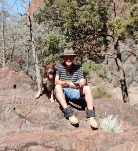 Author and assistant, Barraranna Gorge, South Australia